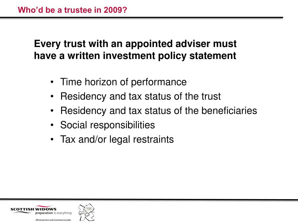 Who'd be a trustee in 2009?