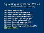 equalizing weights and values a prerequisite to overall rankings