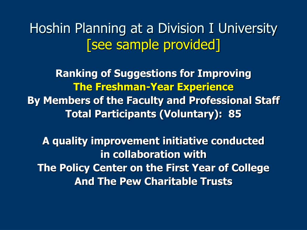 Hoshin Planning at a Division I University