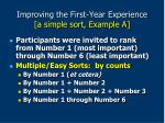 improving the first year experience a simple sort example a