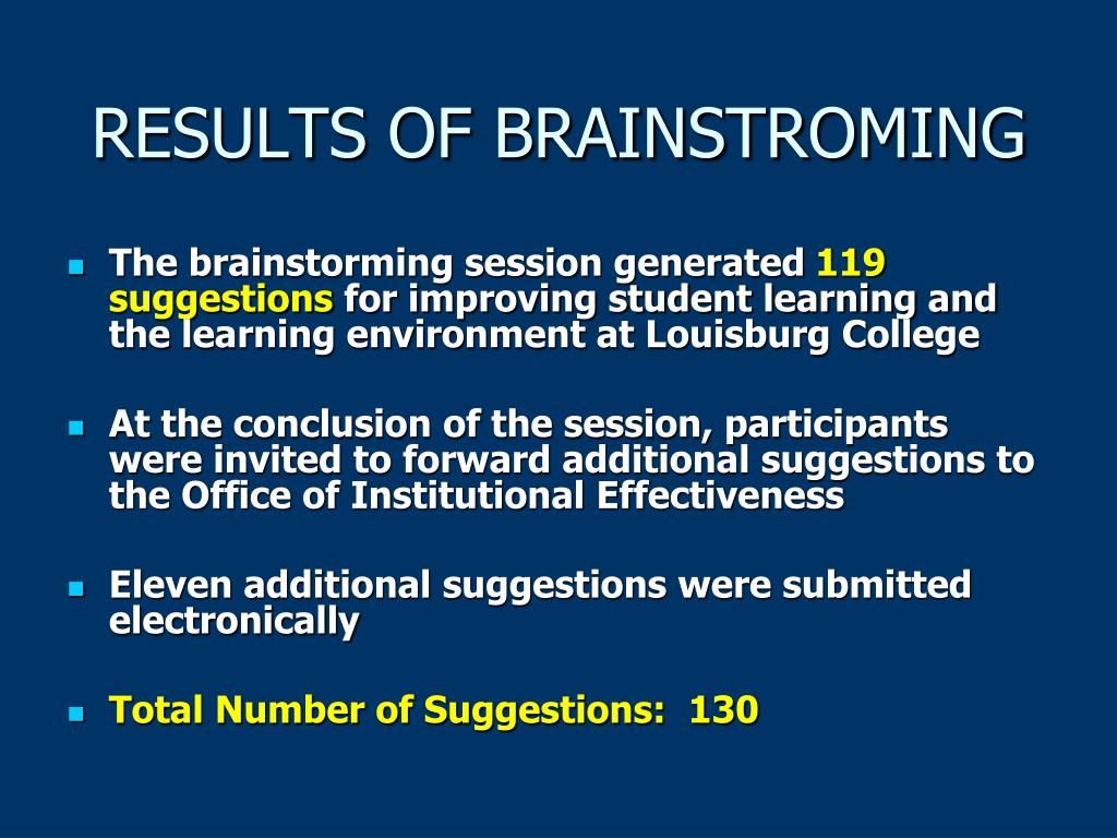 RESULTS OF BRAINSTROMING