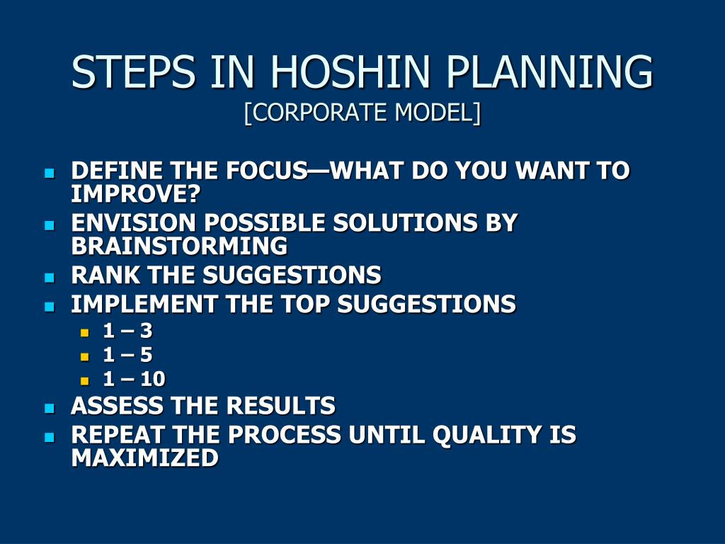 STEPS IN HOSHIN PLANNING