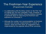 the freshman year experience programmatic example