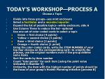 today s workshop process a choose a topic