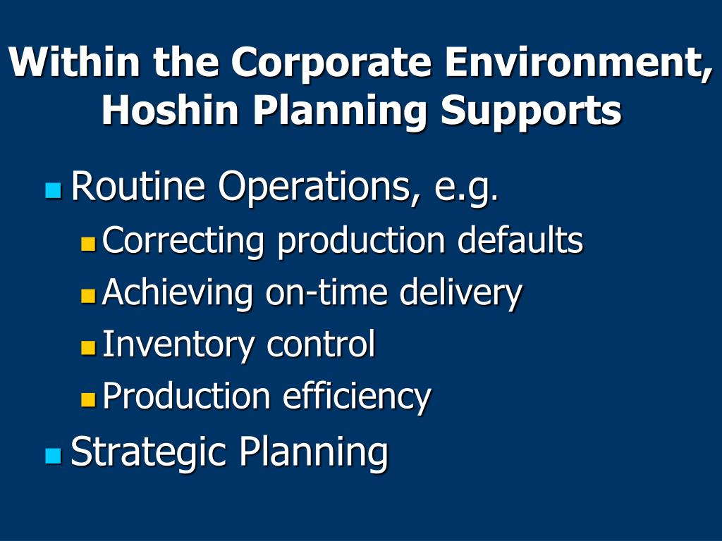 Within the Corporate Environment, Hoshin Planning Supports