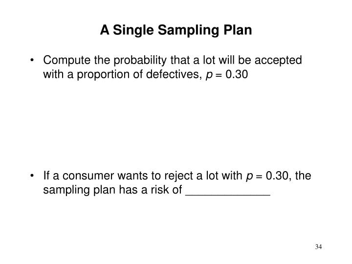 A Single Sampling Plan