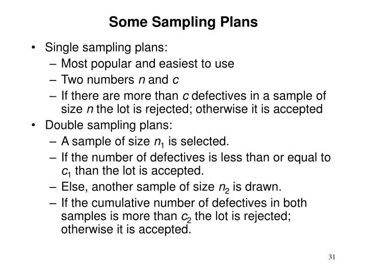 Some Sampling Plans
