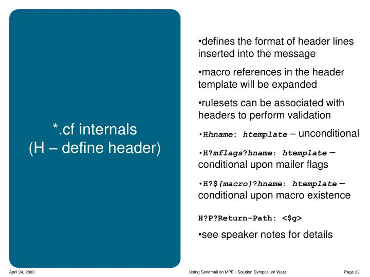defines the format of header lines inserted into the message