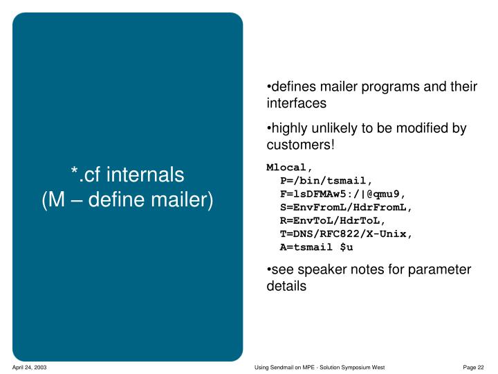 defines mailer programs and their interfaces