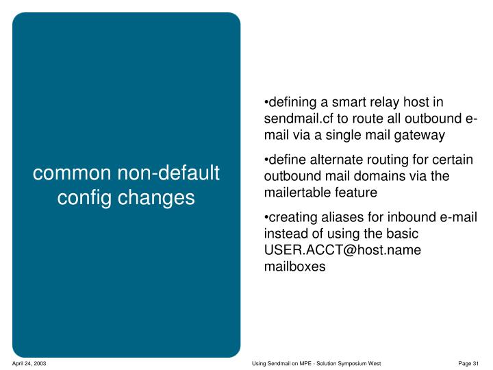 defining a smart relay host in sendmail.cf to route all outbound e-mail via a single mail gateway