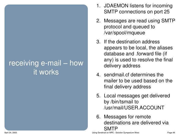 JDAEMON listens for incoming SMTP connections on port 25
