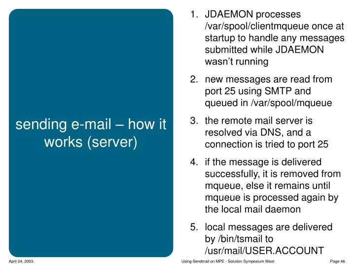 JDAEMON processes /var/spool/clientmqueue once at startup to handle any messages submitted while JDAEMON wasn't running