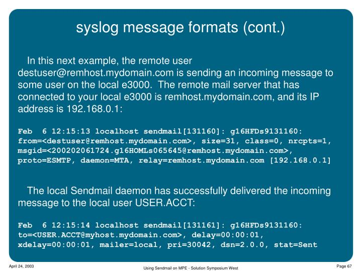 syslog message formats (cont.)