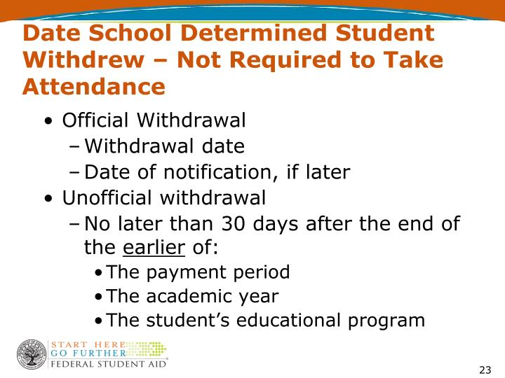 Date School Determined Student Withdrew – Not Required to Take Attendance