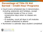 percentage of title iv aid earned credit hour programs