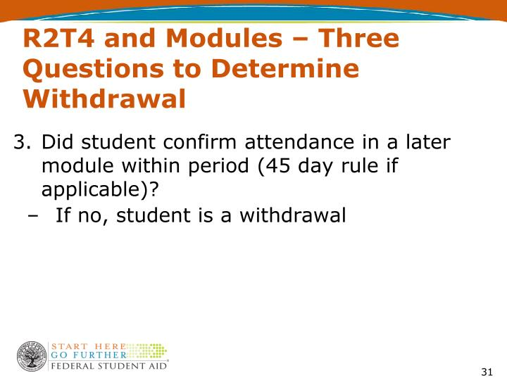 R2T4 and Modules – Three Questions to Determine Withdrawal