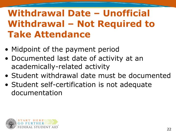 Withdrawal Date – Unofficial Withdrawal – Not Required to Take Attendance