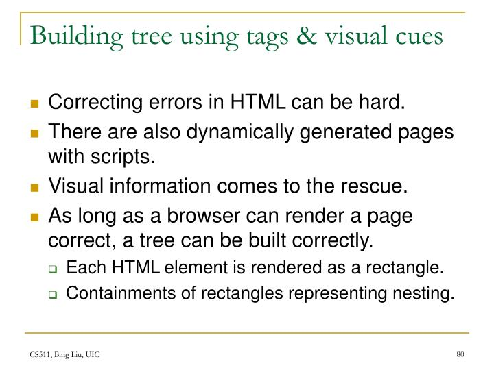 Building tree using tags & visual cues