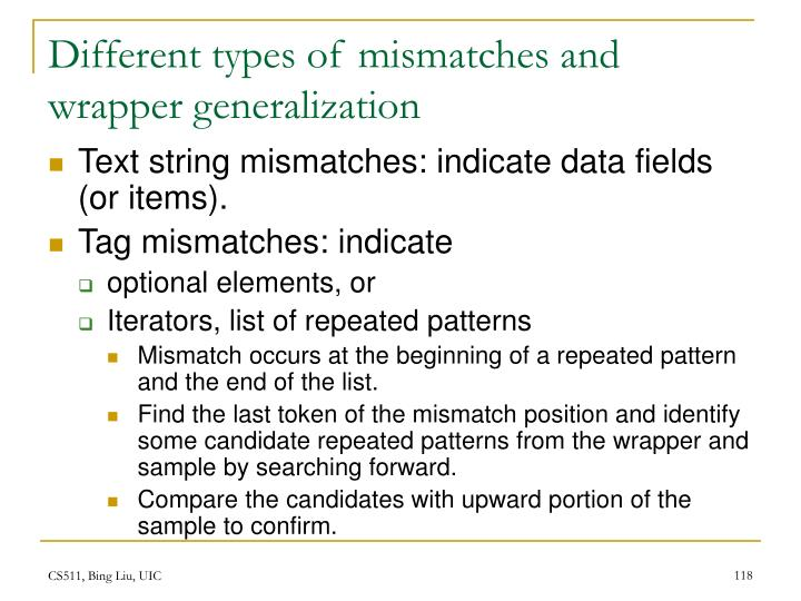 Different types of mismatches and