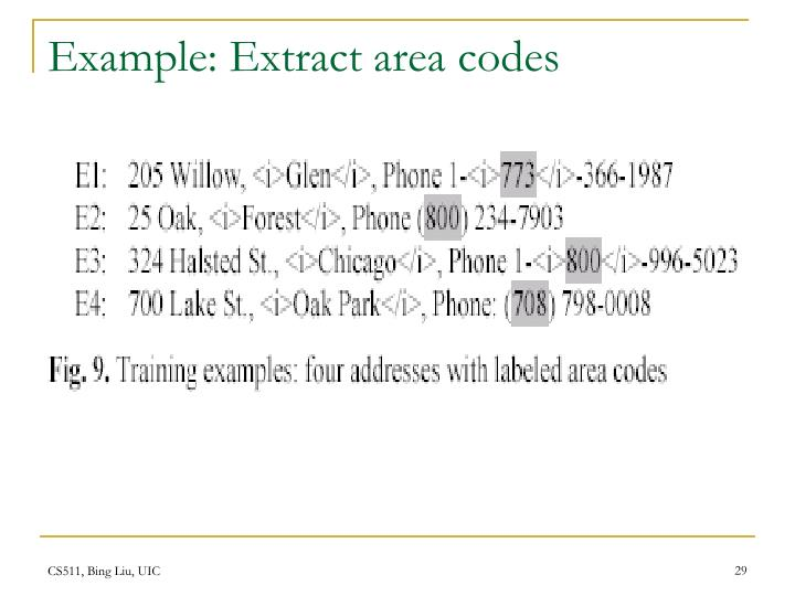 Example: Extract area codes