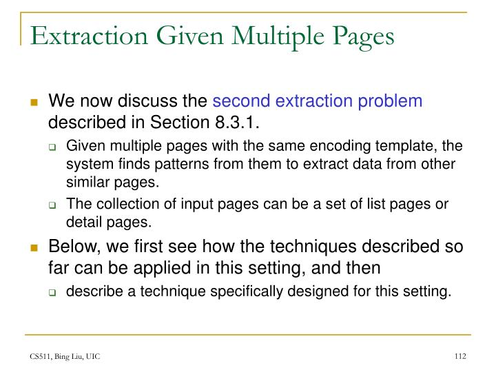 Extraction Given Multiple Pages