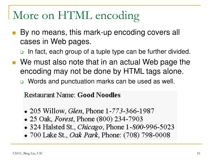 More on HTML encoding