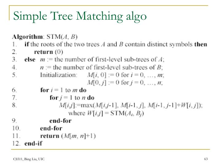 Simple Tree Matching algo