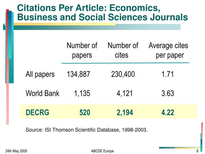 Citations Per Article: Economics, Business and Social Sciences Journals