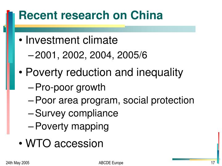 Recent research on China