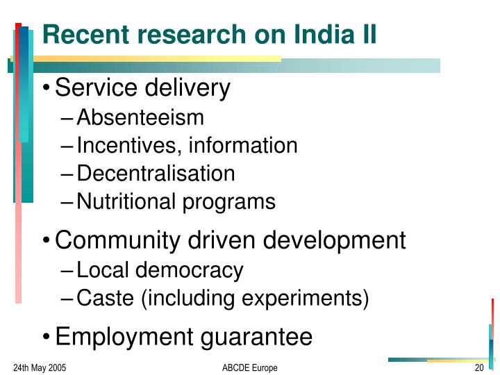 Recent research on India II