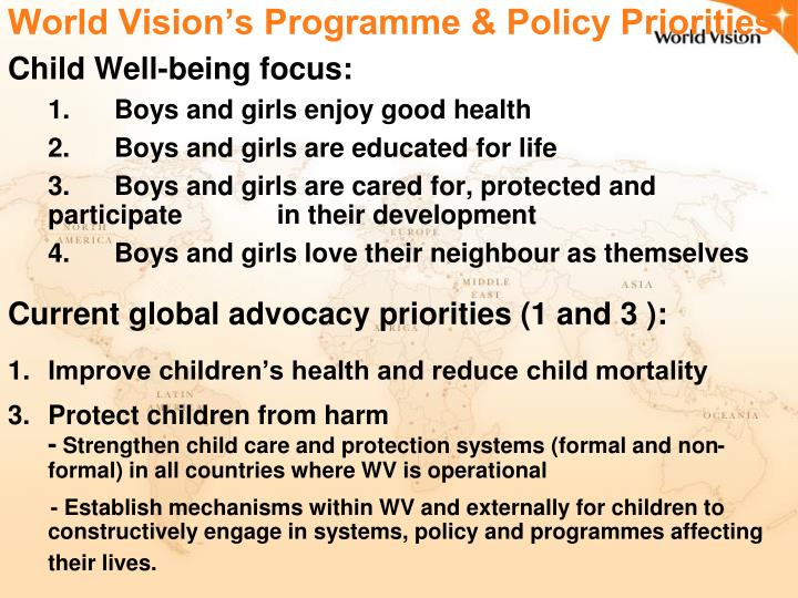 World Vision's Programme & Policy Priorities