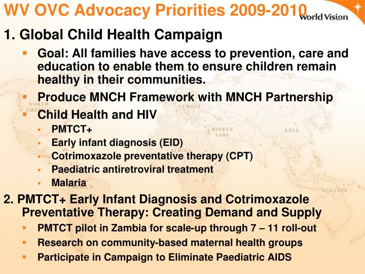WV OVC Advocacy Priorities 2009-2010