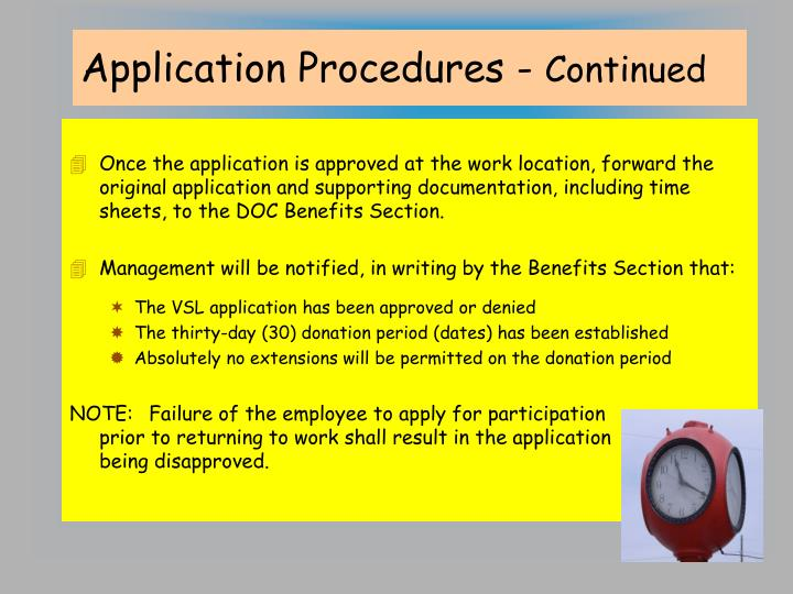 Application Procedures -