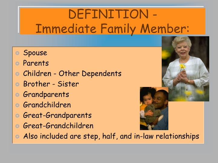 Definition immediate family member