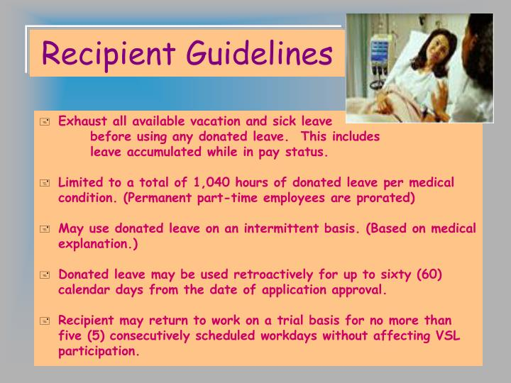 Recipient Guidelines