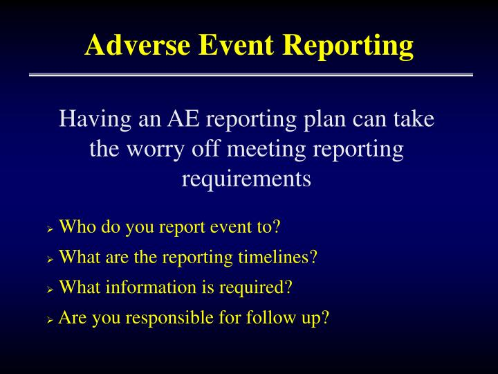 Adverse Event Reporting