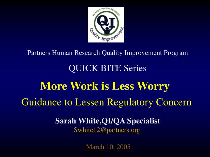 Partners Human Research Quality Improvement Program