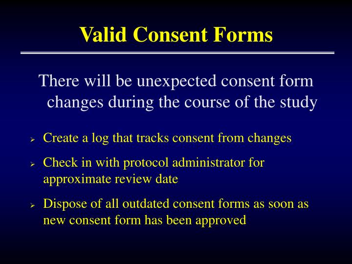 Valid Consent Forms