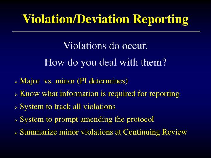 Violation/Deviation Reporting