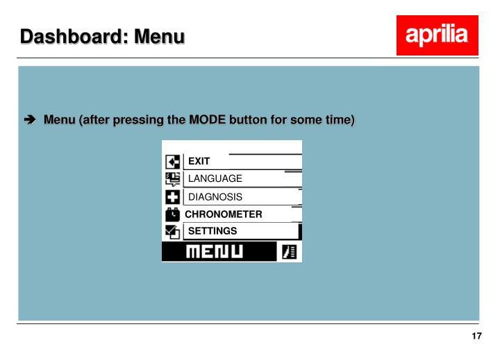 Dashboard: Menu