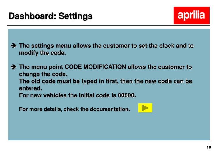 Dashboard: Settings