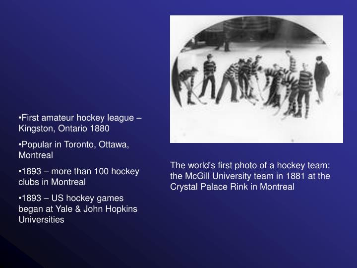 First amateur hockey league – Kingston, Ontario 1880