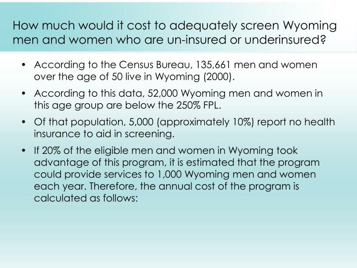How much would it cost to adequately screen Wyoming men and women who are un-insured or underinsured?