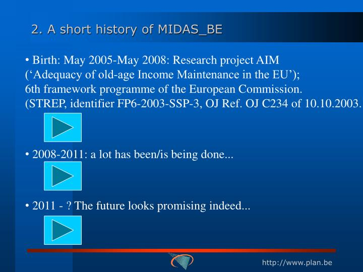 2. A short history of MIDAS_BE