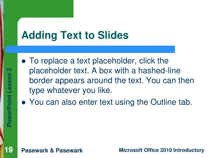 Adding Text to Slides