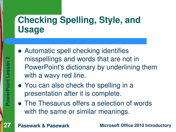 Checking Spelling, Style, and Usage