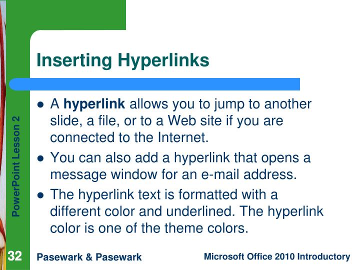 Inserting Hyperlinks