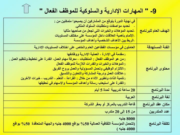 """9- """" المهارات الإدارية والسلوكية للموظف الفعال """""""