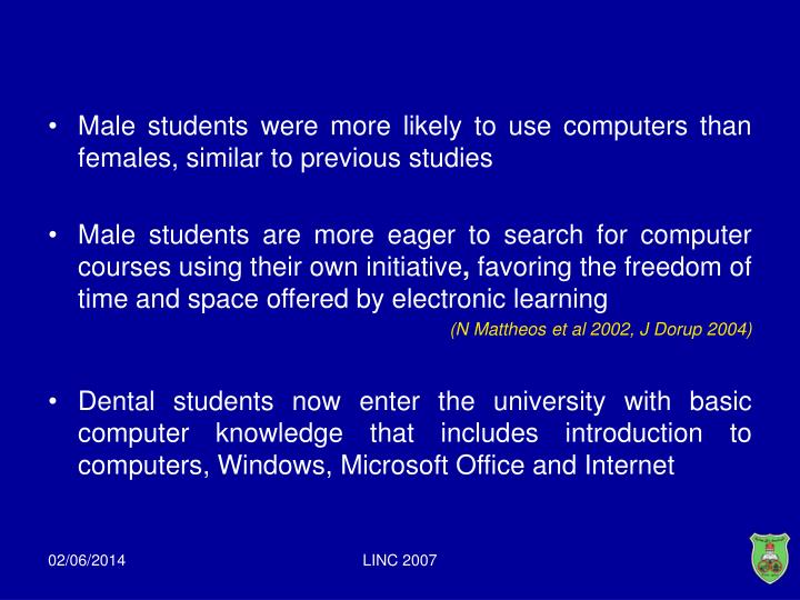 Male students were more likely to use computers than females, similar to previous studies