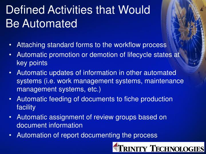 Defined Activities that Would Be Automated